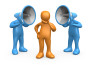 Clipart Illustration of Two Blue Megaphone Headed People Shouting At An Orange Person, Trying To Influence His Beliefs
